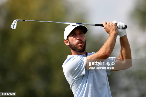 Romain Wattel of France tees off on the 4th hole during Day Four of the KLM Open at The Dutch on September 17 2017 in Spijk Netherlands