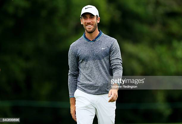 Romain Wattel of France walks from the 16th tee during the continuation of the weather delayed first round of the US Open at Oakmont Country Club on...