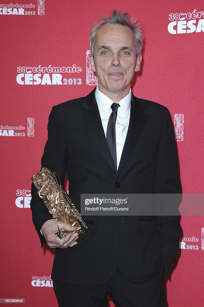 Romain Winding poses with his trophy after winning the Best Photography award during the Cesar Film Awards 2013 at Theatre du Chatelet on February 22, 2013 in Paris, France.