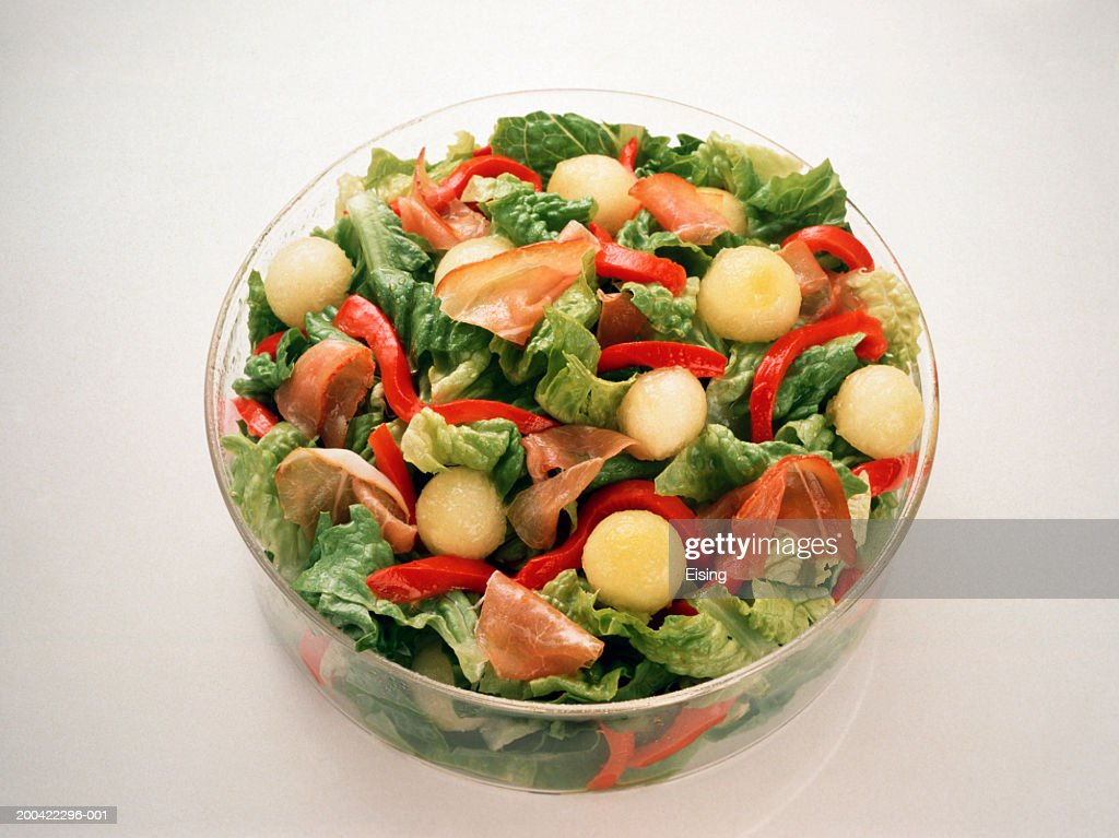 Romaine Salad with Bell Pepper and Melon : Stock Photo
