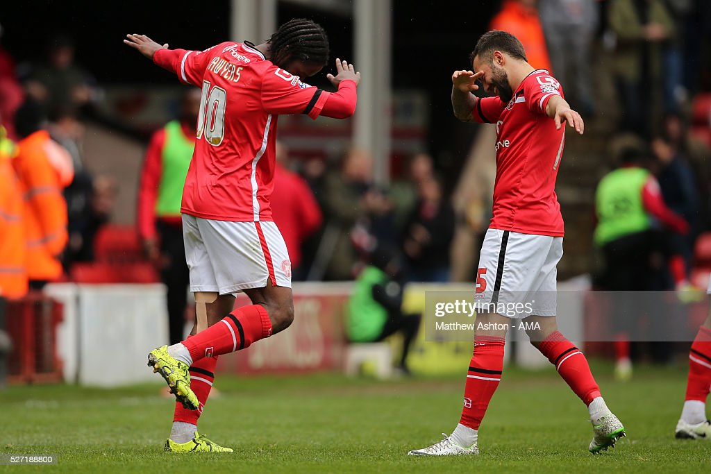 Romaine Sawyers of Walsall celebrates after scoring a goal to make it 3-0 during the Sky Bet League One match between Walsall and Fleetwood Town at Bescot Stadium on May 2, 2016 in Walsall, England.