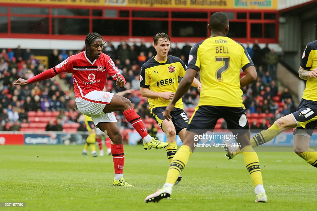 Romaine Sawyers of Walsall scores a goal to make it 3-0 during the Sky Bet League One match between Walsall and Fleetwood Town at Bescot Stadium on May 2, 2016 in Walsall, England.