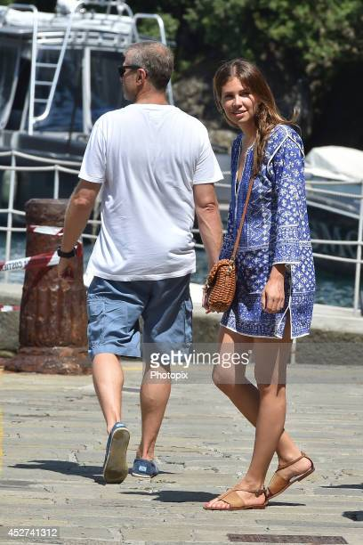 Roman Abramovich and Dasha Zhukova are seen on July 26 2014 in Portofino Italy