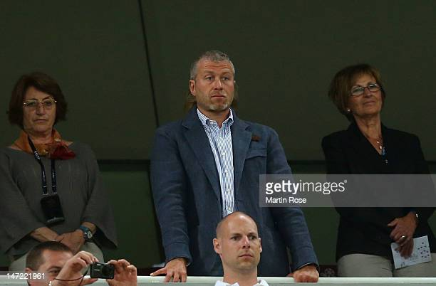 Roman Abramovich looks on prior to the UEFA EURO 2012 semi final match between Portugal and Spain at Donbass Arena on June 27 2012 in Donetsk Ukraine