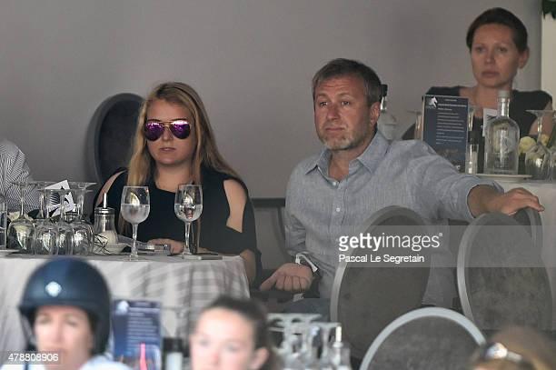 Roman Abramovitch and daughter Sofia attend the 10th International MonteCarlo Jumping on June 27 2015 in Monaco Monaco