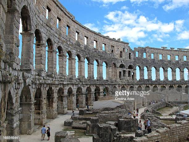 Roman amphitheater of Pula built in the first century BC is a well preserved coliseum imposing came to have seating for 20000 spectators Pula in...