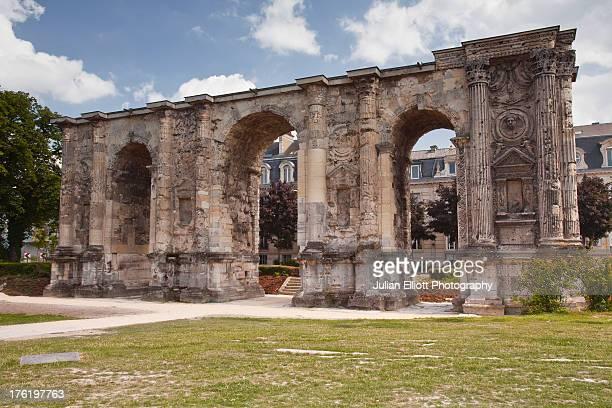 Roman architecture of La Porte Mars in Reims.