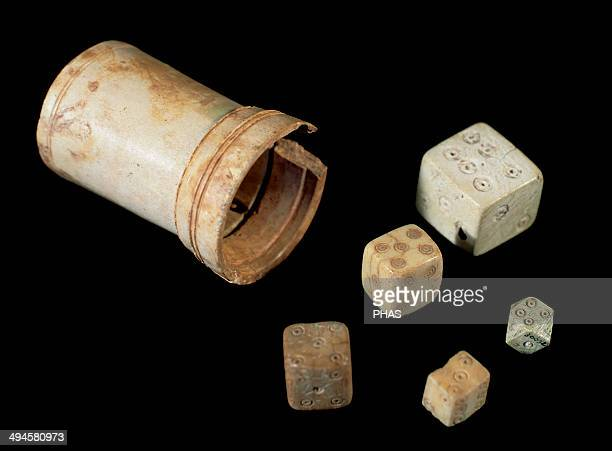 Roman Art Board game Cube and bone dice National Museum of Roman Art Merida Spain