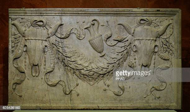 Roman art Decorative slab Sacrifical bull's skulls vase and garlands Early 1st century AD Relief Marble The State Hermitage Museum Saint Petersburg...