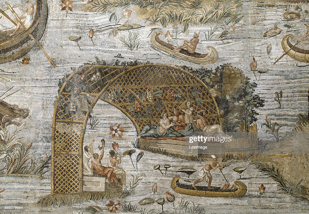 detail of the Nile mosaic of Praeneste from the sanctuary of the goddess Fortuna Primigenia 80 BC 615 x 506 cm Barberini Palace Palestrina Italy