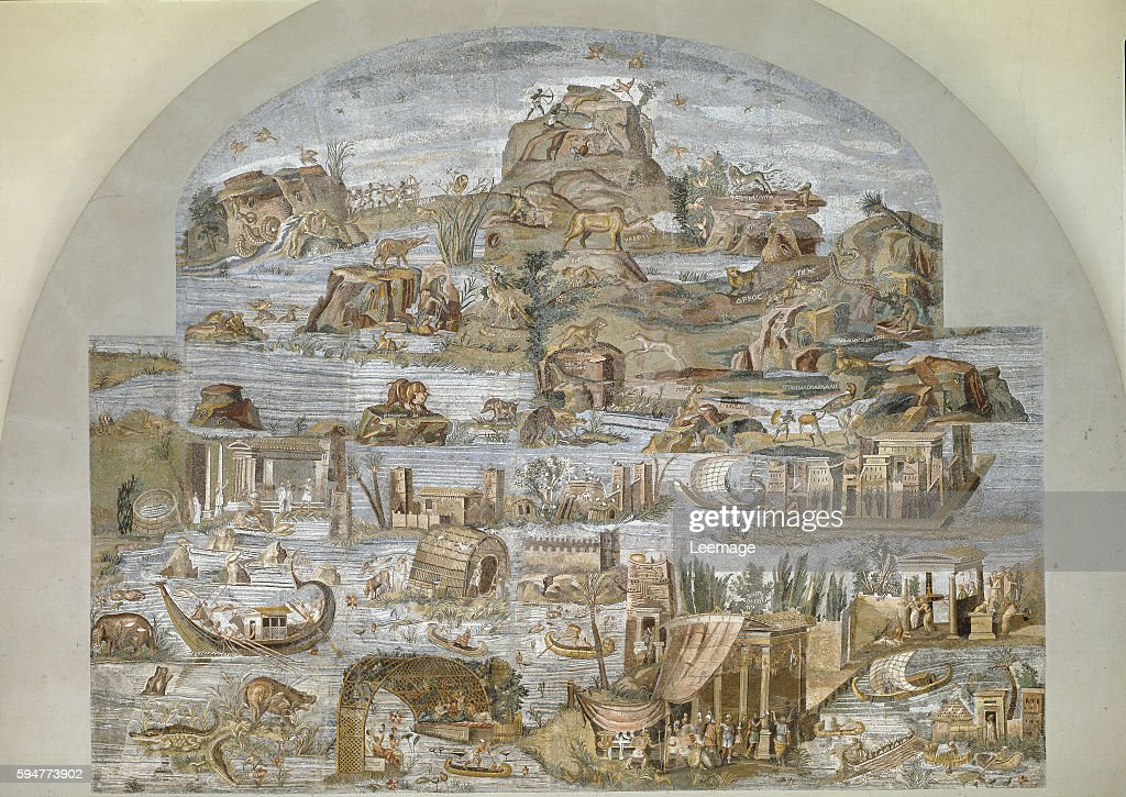 Nile mosaic of Praeneste from the sanctuary of the goddess Fortuna Primigenia 80 BC 615 x 506 cm Barberini Palace Palestrina Italy
