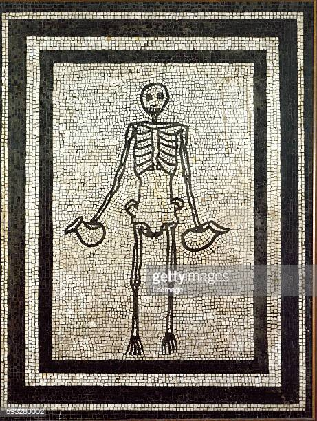 skeleton holding two pitchers Mosaic of the 1st century from Pompeii National Archaeological Museum Naples Italy