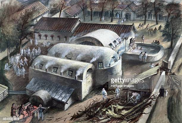 Roman baths at Cheapside London late 1st2nd century An artist's impression of the baths on the left fuel is being stoked into the furnace Steam...