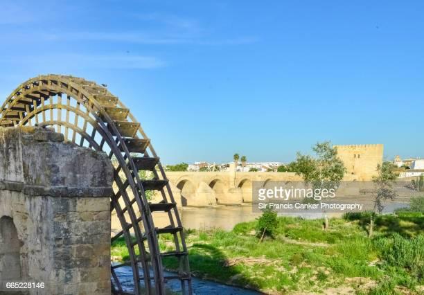 Roman bridge and Albolafia waterfill on a sunny day in Cordoba, Andalusia, Spain