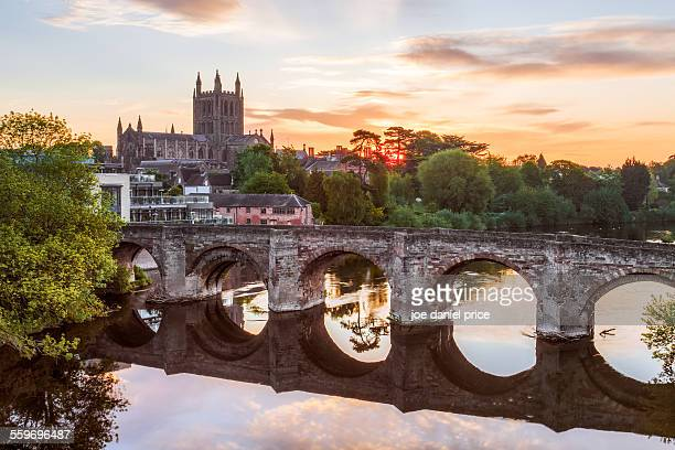 Roman Bridge and Cathedral, Hereford, England