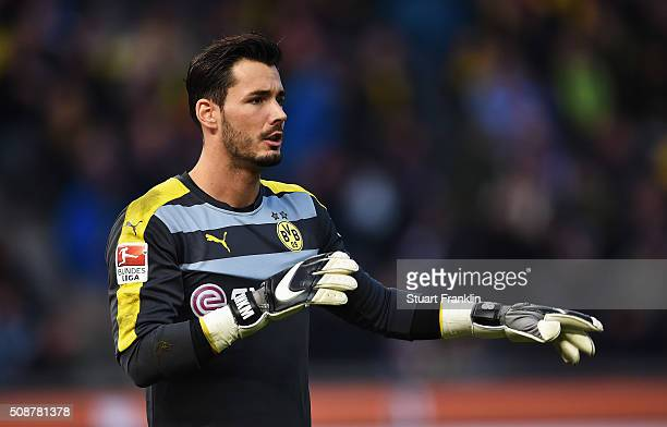 Roman Bürki of Dortmund in action during the Bundesliga match bewteen Hertha BSC and Borussia Dortmund at Olympiastadion on February 6 2016 in Berlin...