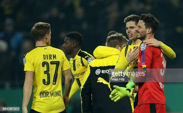 Roman Buerki goalkeeper of Dortmund celebrate after penalty shoot out during the DFB Cup Round of 16 match between Borussia Dortmund and Hertha BSC...