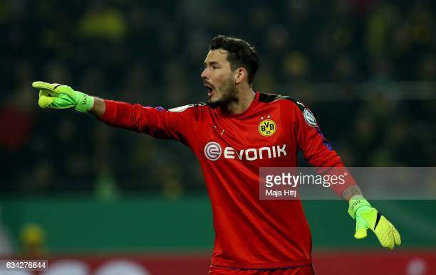 Roman Buerki goalkeeper of Dortmund gestures during the DFB Cup Round of 16 match between Borussia Dortmund and Hertha BSC at Signal Iduna Park on...