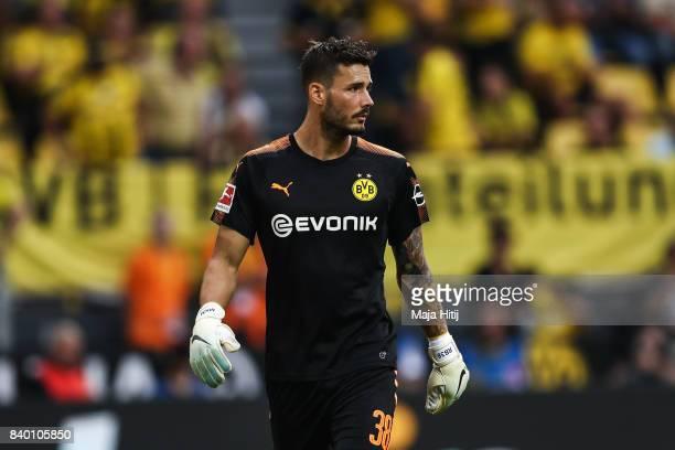 Roman Buerki goalkeeper of Dortmund looks on during the Bundesliga match between Borussia Dortmund and Hertha BSC at Signal Iduna Park on August 26...