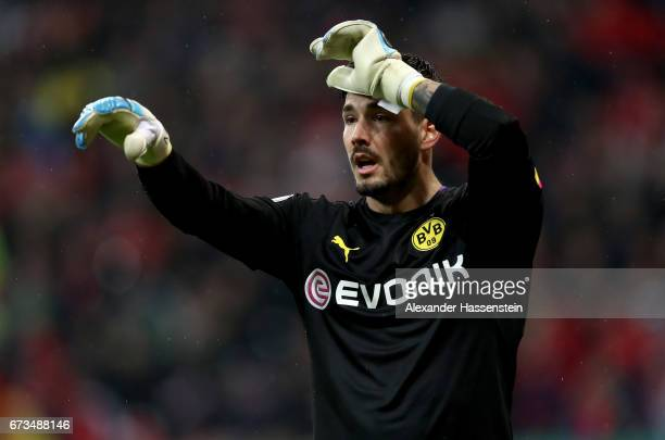 Roman Buerki goaltender of Dortmund reacts during the DFB Cup semi final match between FC Bayern Muenchen and Borussia Dortmund at Allianz Arena on...