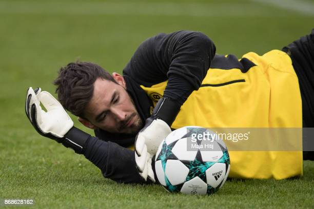 Roman Buerki of Borussia Dortmund holds the ball during the training prior the UEFA Champions League group H match between Borussia Dortmund and...