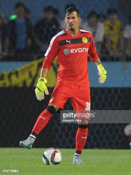 Roman Buerki of Borussia Dortmund in action during the preseason friendly match between Kawasaki Frontale and Borussia Dortmund at Todoroki Stadium...
