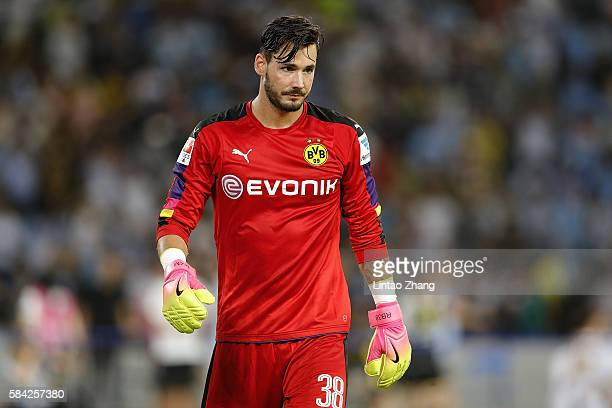 Roman Buerki of Borussia Dortmund looks on during the 2016 International Champions Cup match between Manchester City and Borussia Dortmund at...