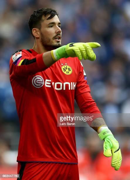 Roman Buerki of Dortmund gestures during the Bundesliga match between FC Schalke 04 and Borussia Dortmund at VeltinsArena on April 1 2017 in...
