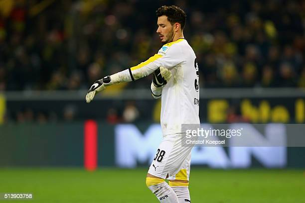 Roman Buerki of Dortmund is seen during the Bundesliga match between Borussia Dortmund and FC Bayern Muenchen at Signal Iduna Park on March 5 2016 in...
