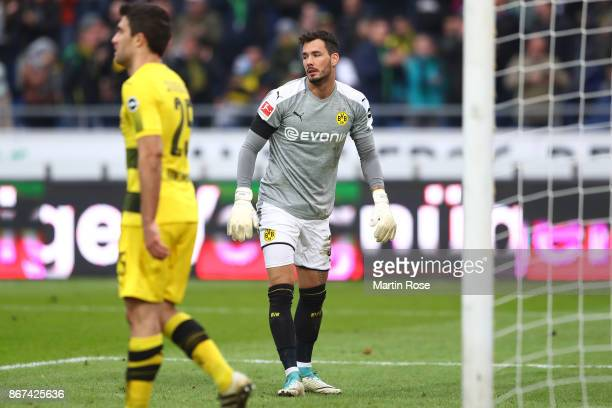 Roman Buerki of Dortmund looks dejected after he was unable to safe a goal by Ihlas Bebou of Hannover to make it 21 during the Bundesliga match...