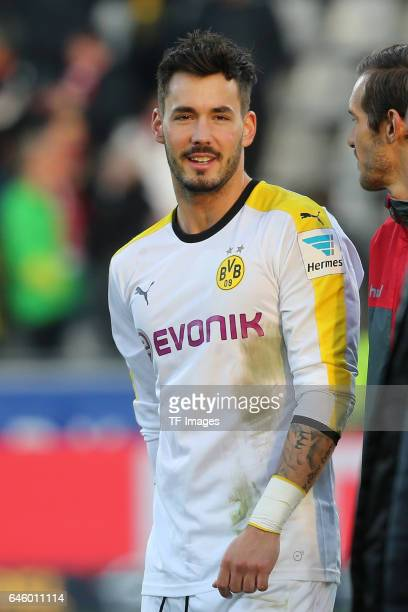 Roman Buerki of Dortmund looks on during the Bundesliga match between Sport Club Freiburg and Borussia Dortmund at SchwarzwaldStadion on February 25...