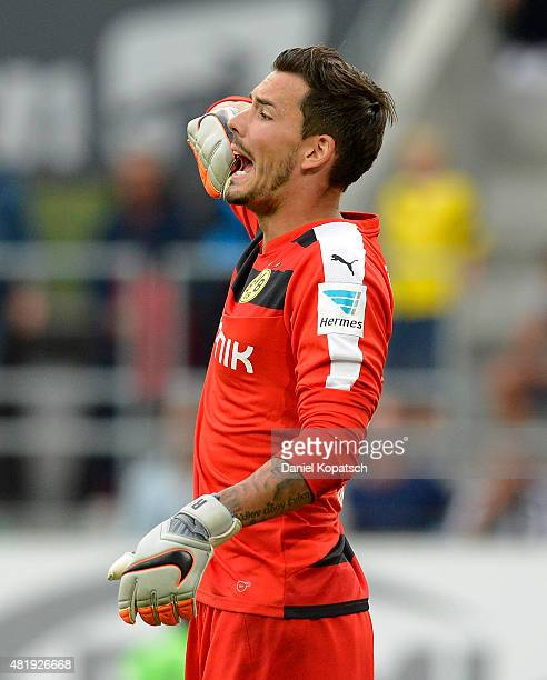 Roman Buerki of Dortmund reacts during the friendly match between Juventus and Borussia Dortmund on July 25 2015 in St Gallen Switzerland