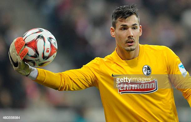 Roman Buerki of Freiburg in action during the Bundesliga match between FC Bayern Muenchen and SC Freiburg at Allianz Arena on December 16 2014 in...