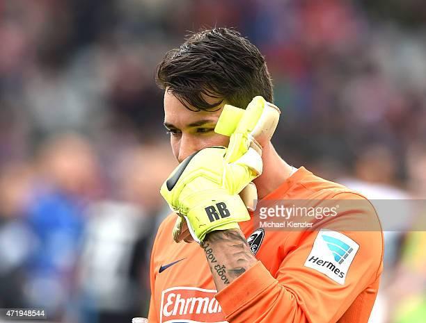 Roman Buerki of SC Freiburg reacts after the Bundesliga match between Sport Club Freiburg and SC Paderborn 07 at SchwarzwaldStadium on May 2 2015 in...