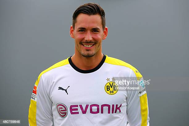 Roman Buerki poses during the team presentation of Borussia Dortmund at Brackel training ground on July 15 2015 in Dortmund Germany