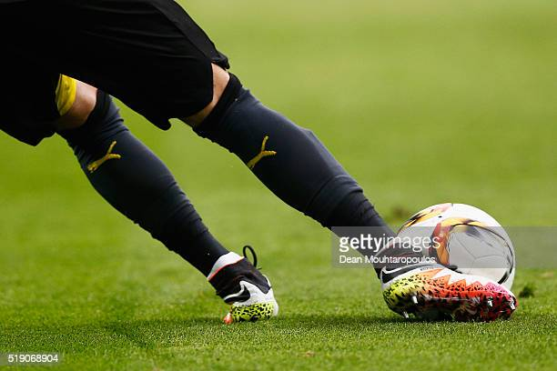 Roman Burki of Borussia Dortmund kicks the ball during the Bundesliga match between Borussia Dortmund and Werder Bremen at Signal Iduna Park on April...