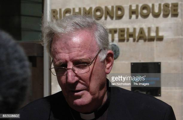 Roman Catholic Archbishop of Westminster Cardinal Cormac Murphy O'Connor addresses the media at the Dept of Health following talks on the abortion...