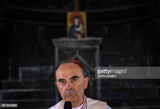 Roman Catholic Cardinal Philippe Barbarin Archbishop of Lyon leads a mass at the Church of the Immaculate Conception on July 24 2017 in the...