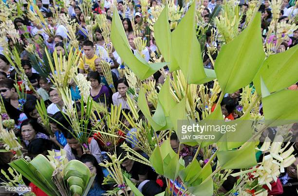 Roman Catholic dovetees wave their palm fronds as a priest blesses them during Palm Sunday mass in Manila on April 1 2012 Palm Sunday marks the start...