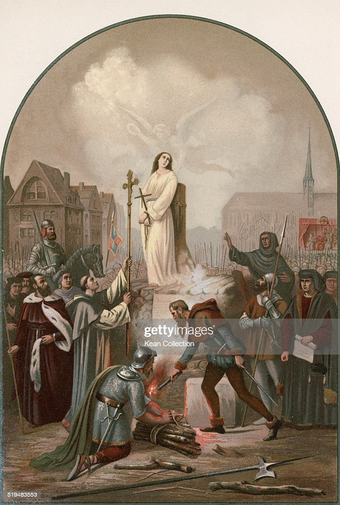 Roman Catholic saint, Joan of Arc ('The Maid of Orléans') (1412 - 1431) is burnt at the stake in the Vieux-Marché, Rouen, France, 30th May 1431.