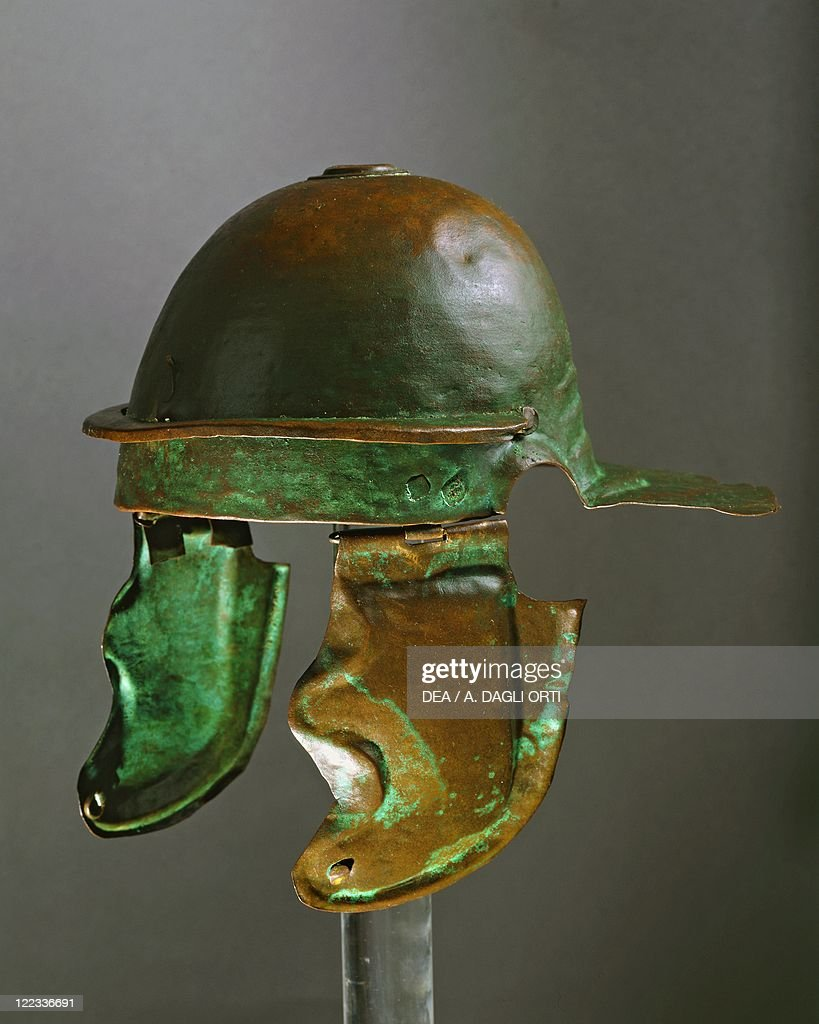 bronze helmet of the roman army realized at rome in 69 a d
