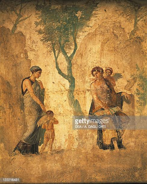 Roman civilization 1st century AD Fresco portraying Eros being punished in the presence of Aphrodite From Pompeii