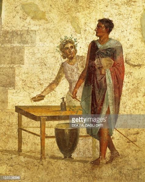Roman civilization 1st century AD Fresco portraying Jason and Pelias From Pompeii