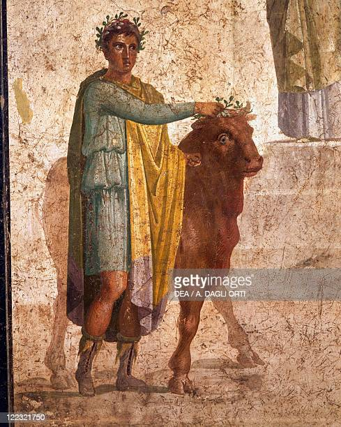 Roman civilization 1st century AD Fresco portraying Jason and Pelias From Pompeii