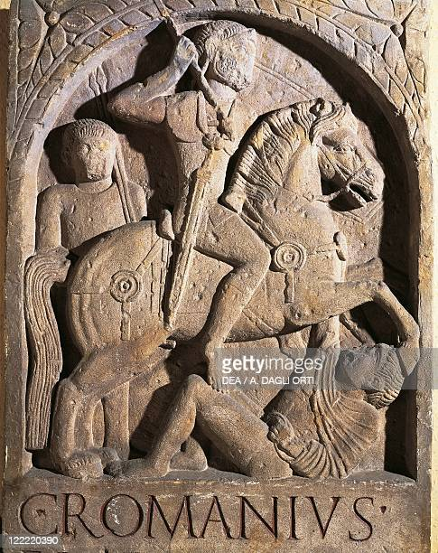 Roman civilization 1st century AD Stele of Gaio Romano Capitone horseman of the Noricans' Wing From Mainz Germany