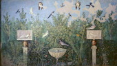 Roman civilization 1st century AD Wall decorated with Third style fresco depicting garden and birds From Pompei