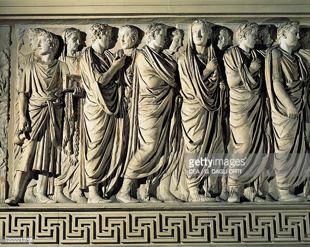 Roman civilization 1st century bC Ara Pacis Augustae altar built between 13 and 9 bC to celebrate the peace established by Augustus North side relief...