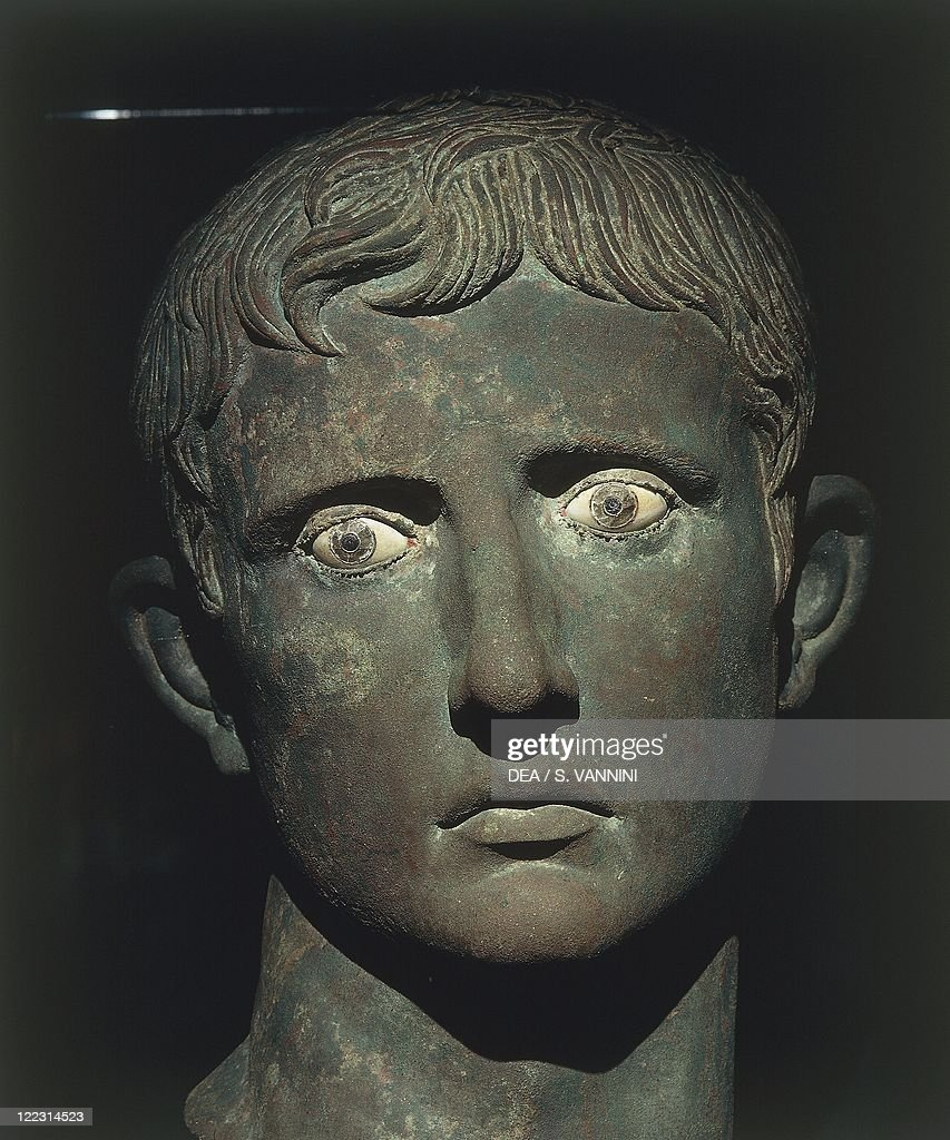 Roman civilization, 1st century b.C. Bronze head of Augustus with glass and alabaster eyes, 27-25 b.C. From Meroe (Sudan). Detail.