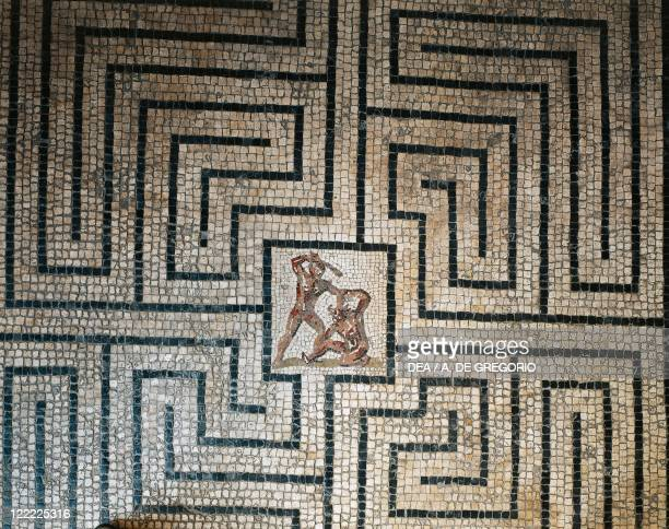 Roman civilization 1st century bC Floor mosaic depicting the fight between Theseus and the Minotaur in the Labyrinth