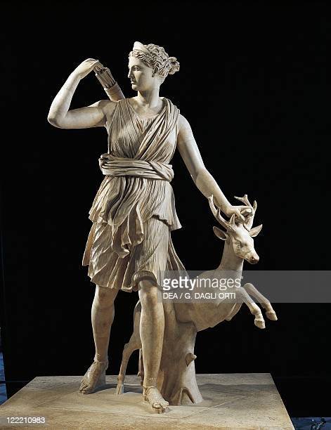 Roman civilization 1st2nd century AD Diana of Versailles marble statue of Artemis with a deer